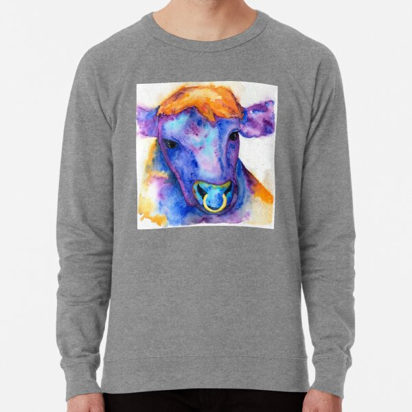Watercolor Purple Bull with Nose Ring, Jules Lightweight Sweatshirt