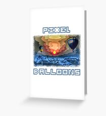 PIXEL BALLOONS at night in pixel style Greeting Card