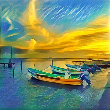 Sunset From Velazquez Restaurant - Isla Mujeres by NewNomads