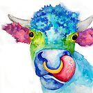 Darlene Watercolor Cow by Jeri Stunkard