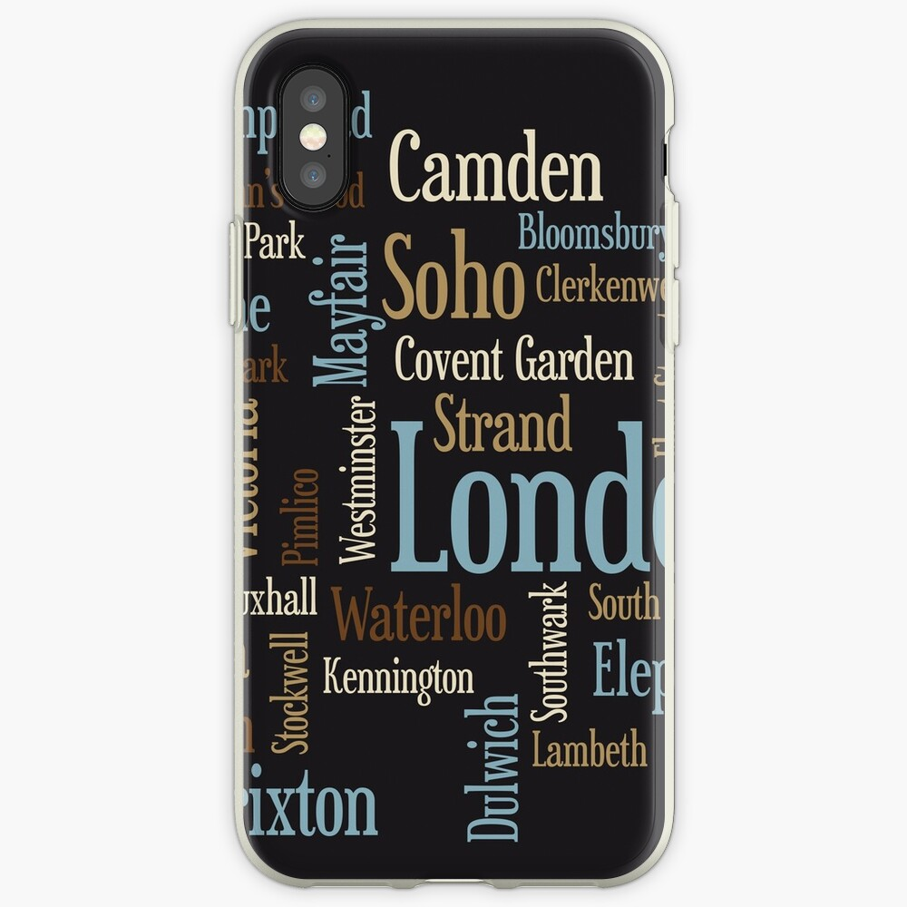 London Text typografische Karte iPhone-Hülle & Cover