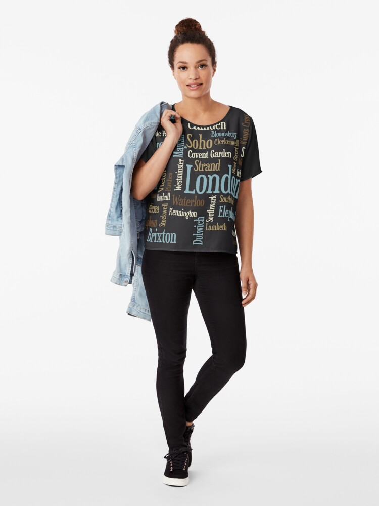 Alternative Ansicht von London Text typografische Karte Chiffon Top