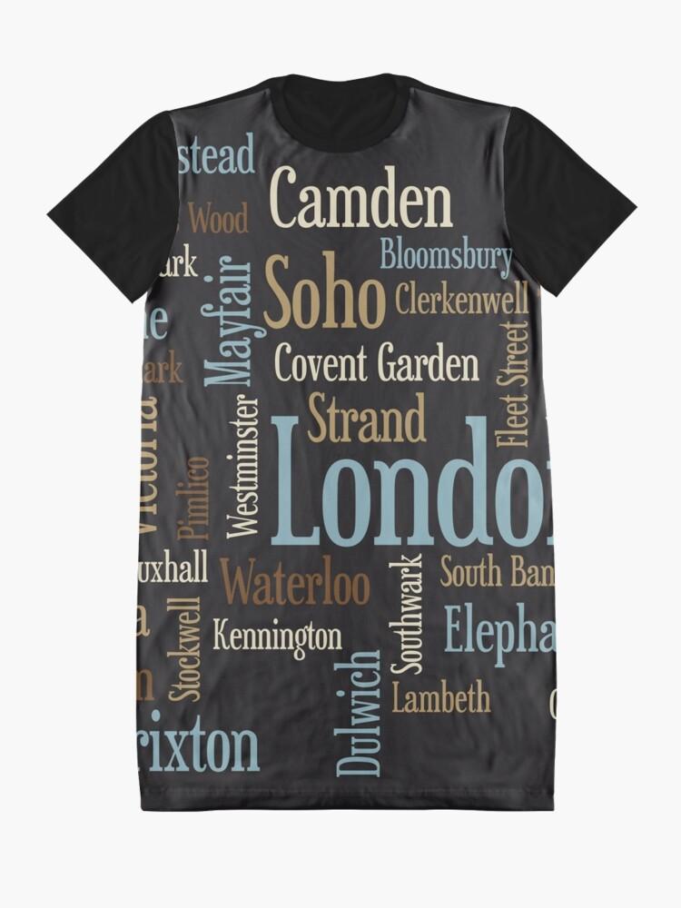Alternative Ansicht von London Text typografische Karte T-Shirt Kleid