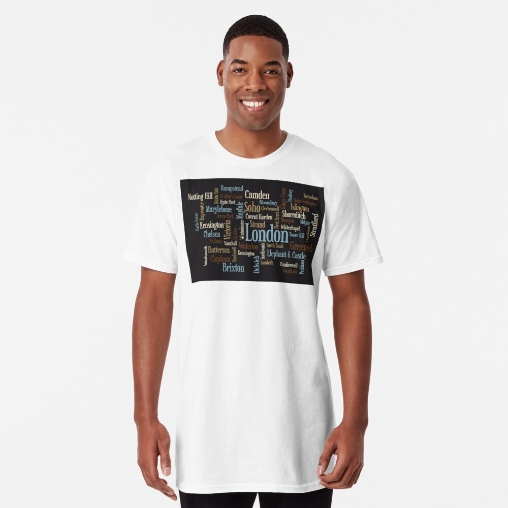 London Text typografische Karte Longshirt