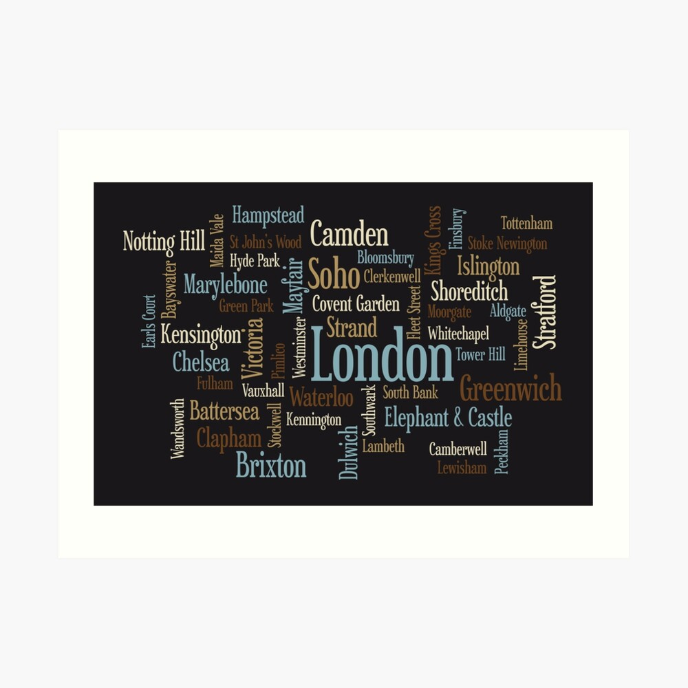 London Text typografische Karte Kunstdruck