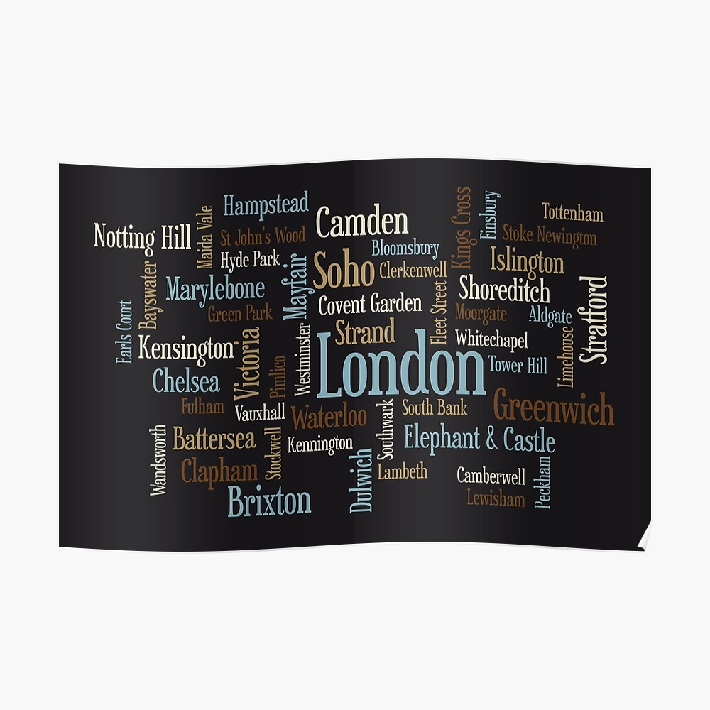 London Text typografische Karte Poster