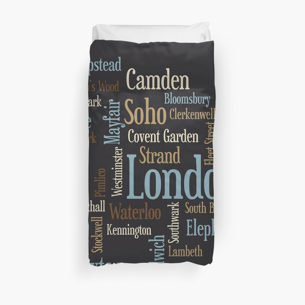 London Text typografische Karte Bettbezug