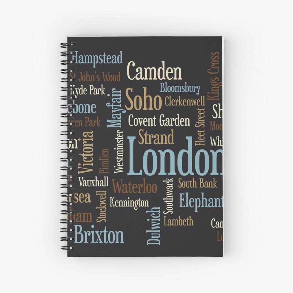 London Text typografische Karte Spiralblock