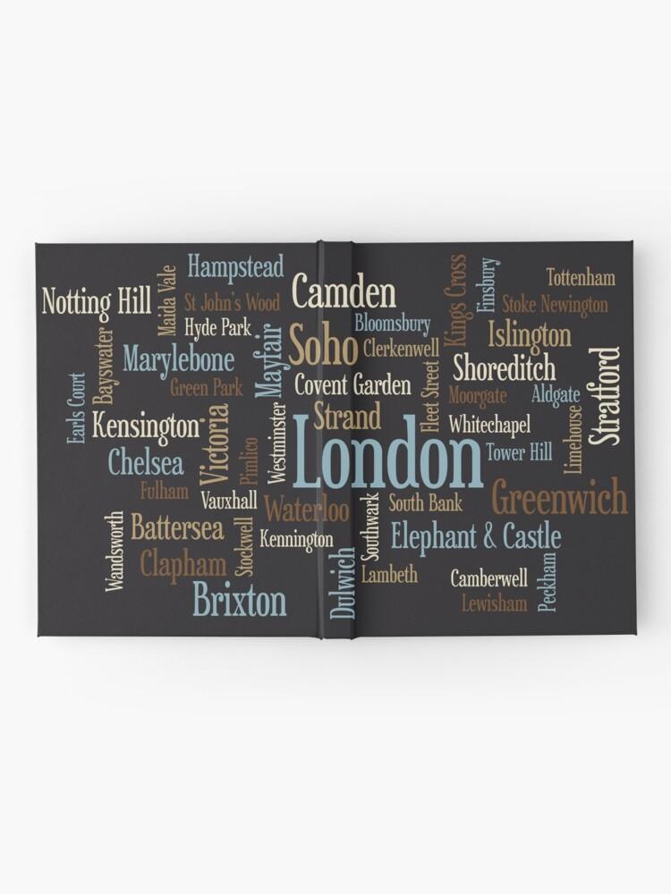 Alternative Ansicht von London Text typografische Karte Notizbuch