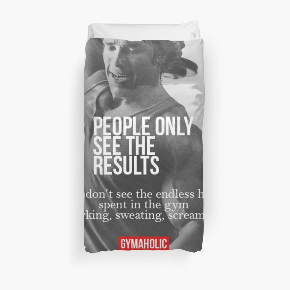 Bodybuilding Inspirational Quote Duvet Cover