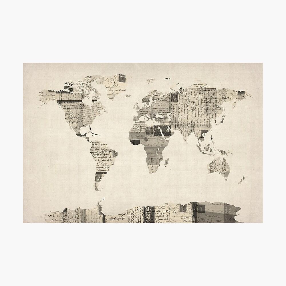 Karte der Weltkarte von alten Postkarten Fotodruck