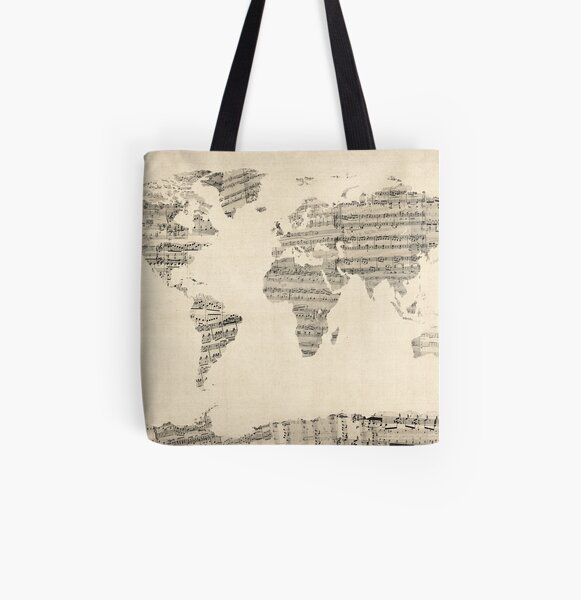 Map of the World Map from Old Sheet Music All Over Print Tote Bag