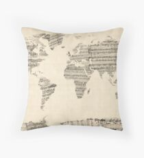 Map of the World Map from Old Sheet Music Throw Pillow