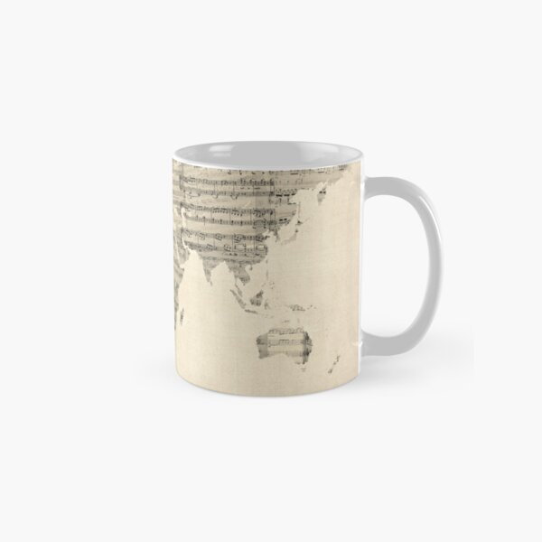 Map of the World Map from Old Sheet Music Classic Mug