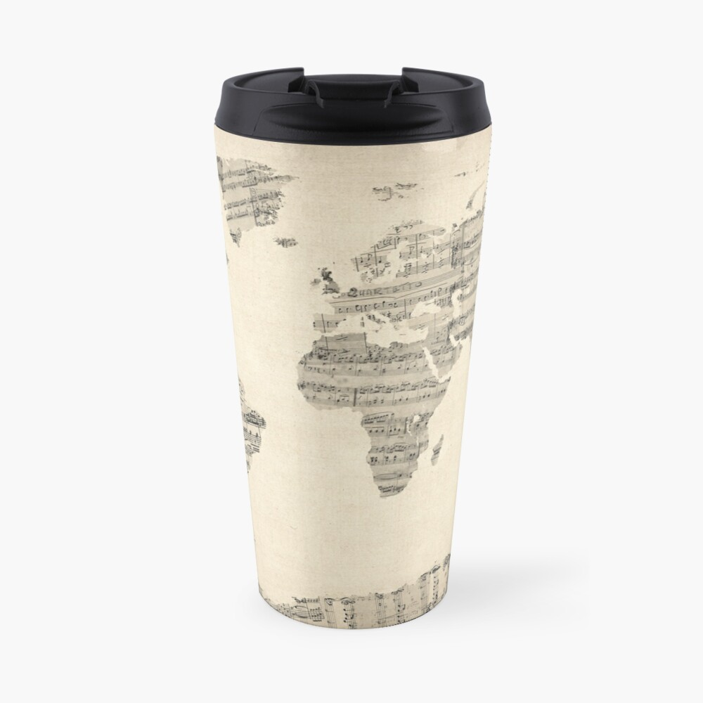Map of the World Map from Old Sheet Music Travel Mug