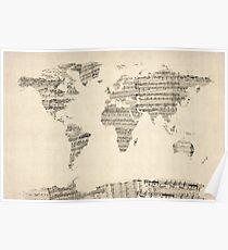 Carte de la carte du monde de vieilles partitions Poster