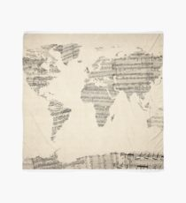 Map of the World Map from Old Sheet Music Scarf