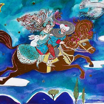 ORIENTAL FAIRY TALE Princess.Prince and White Rabbit Flying On Golden Horse in the Night by BulganLumini