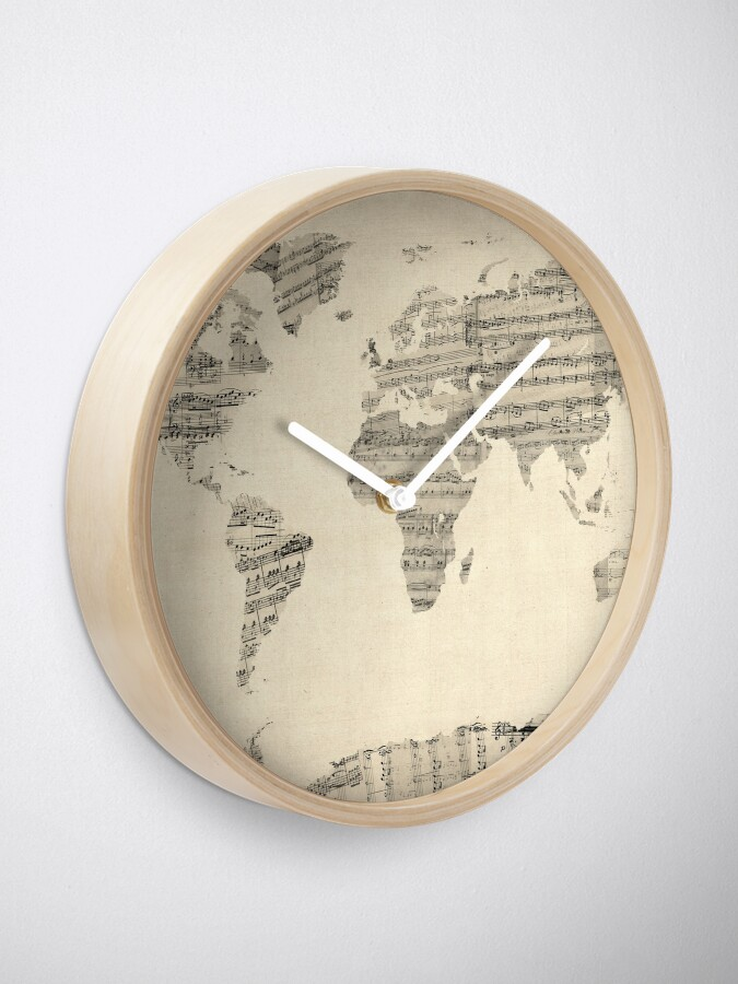 Alternate view of Map of the World Map from Old Sheet Music Clock