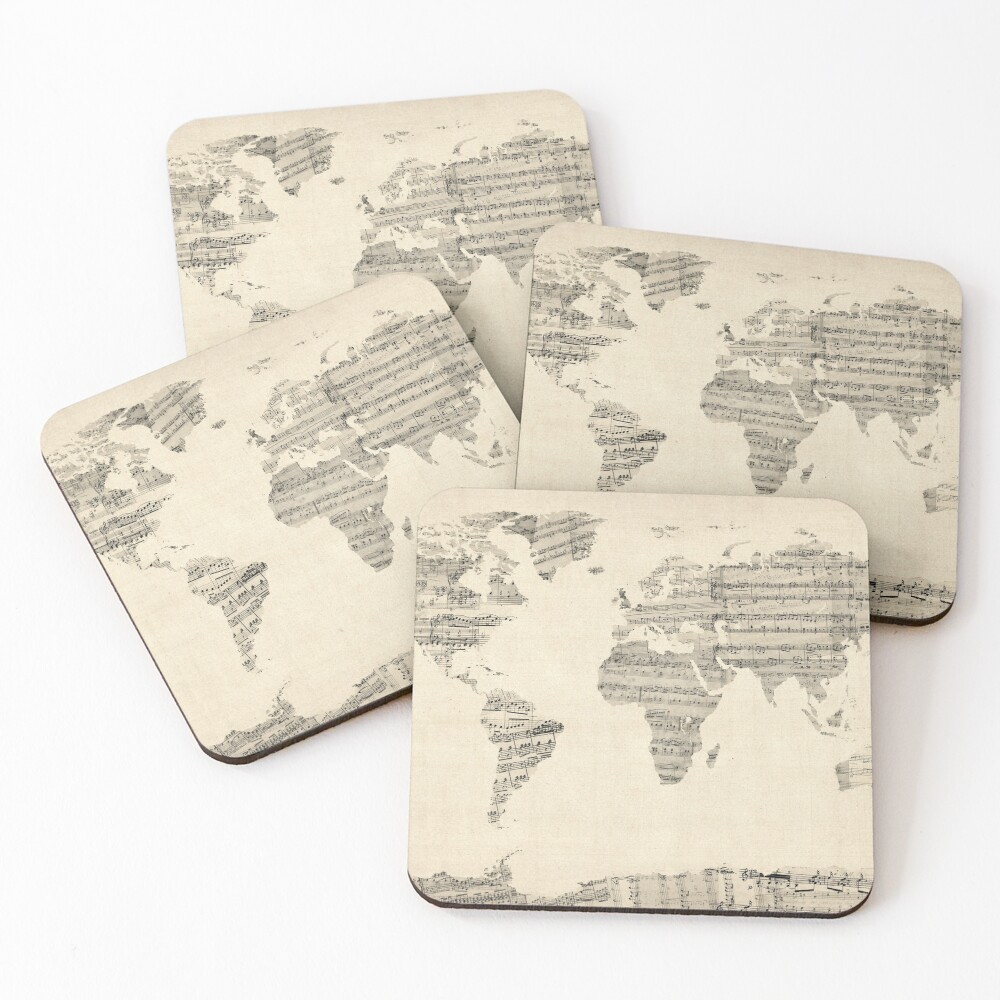Map of the World Map from Old Sheet Music Coasters (Set of 4)