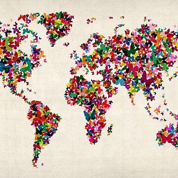 Butterflies Map of the World Map by ArtPrints