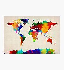 Lámina fotográfica Mapa de la pintura del mapa mundial