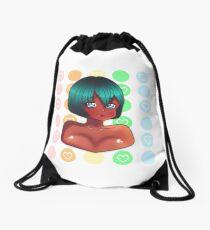 Happy-Go-Lucky Anime Sticker Drawstring Bag