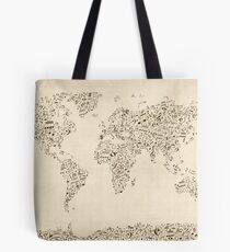 Music Notes Map of the World Tote Bag