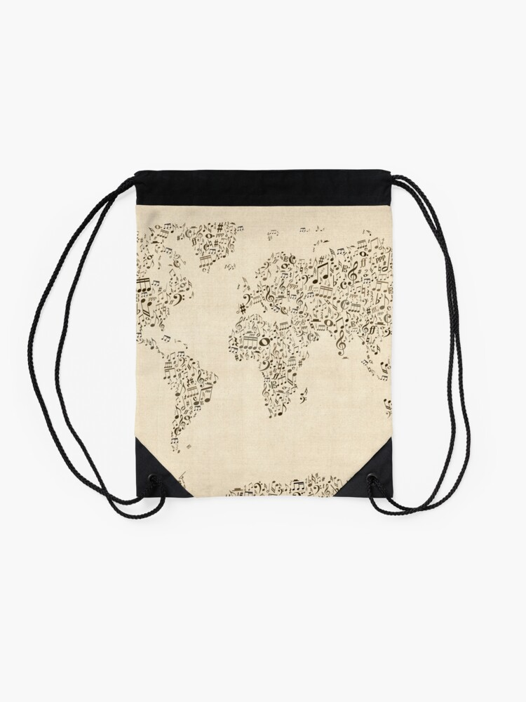 Alternate view of Music Notes Map of the World Drawstring Bag