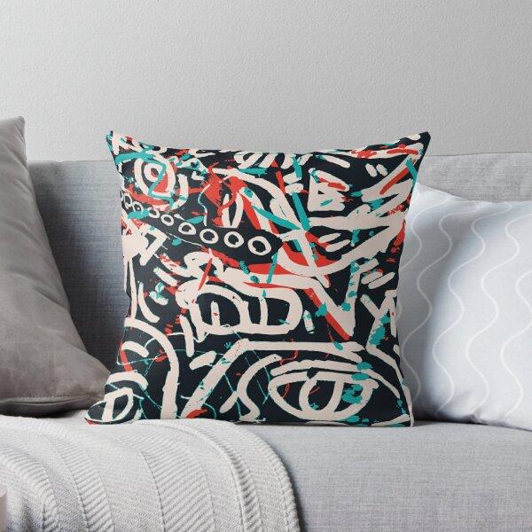 Street Art Graffiti Pattern Ink and Posca  Throw Pillow