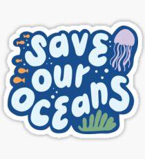 Pegatina Ahorre nuestro océano minimalista ambiental