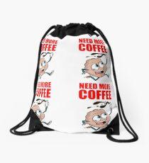 Need more coffee Caffeine brain Drawstring Bag