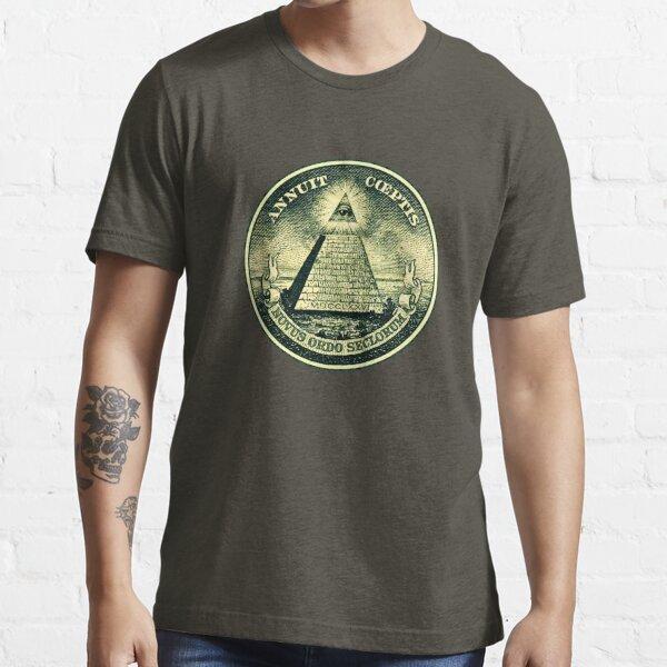 All seeing eye, pyramid, dollar, freemason, god Essential T-Shirt