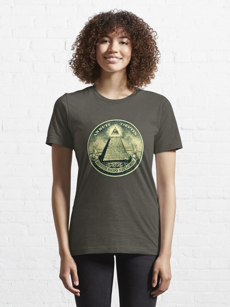 Alternate view of All seeing eye, pyramid, dollar, freemason, god Essential T-Shirt