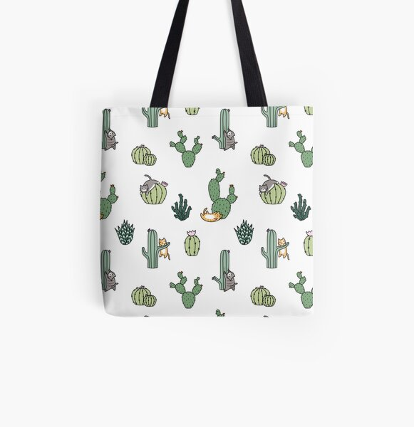 Cacti Cats All Over Print Tote Bag