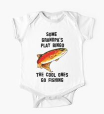 Some Grandpa's Play Bingo The Cool One's Go Fishing Yellowstone Cutthroat Trout Fly Rocky Mountains Fish Char Jackie Carpenter Art Gift Father Dad Father's Day Grandpa Grandfather Best Seller One Piece - Short Sleeve