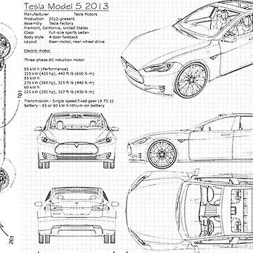Nikola Tesla and Tesla Motors Blueprint Reversed by Oeuvre