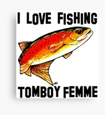 I Love Fishing Tomboy Femme Fishing Yellowstone Cutthroat Trout Fly Rocky Mountains Fish Char Jackie Carpenter Art Gift Girl Wife Mother's Day Sister Tomboy's Mom Best Seller Canvas Print