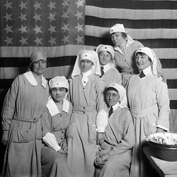Red Cross Workers With US Flag - Paris - 1919 by warishellstore