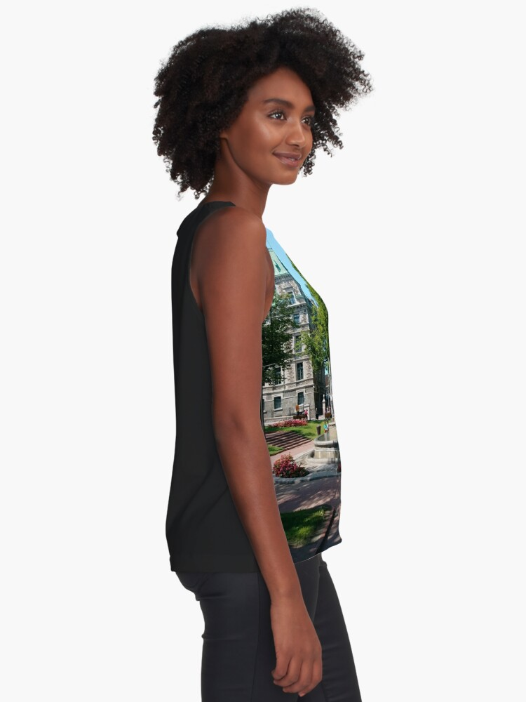 Alternate view of Quebec City, #QuebecCity, #Quebec, #City, #Canada, #buildings, #streets, #places, #views, #nature, #people, #tourists, #pedestrians, #architecture, #flowers, #monuments Sleeveless Top