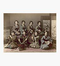 Geisha Girls Playing Musical Instruments - Kusakabe Kimbei  Photographic Print