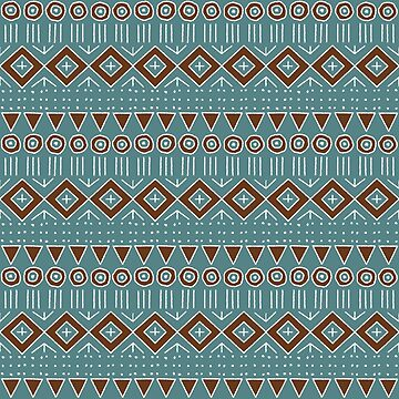 Mudcloth Style 2 in Turquoise and Brown by MelFischer