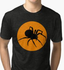 Spider. Distressed Orange Round. Halloween, Everyday. Tri-blend T-Shirt