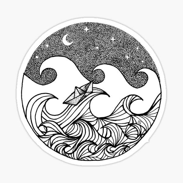 Sternenklare Nacht auf hoher See Sticker