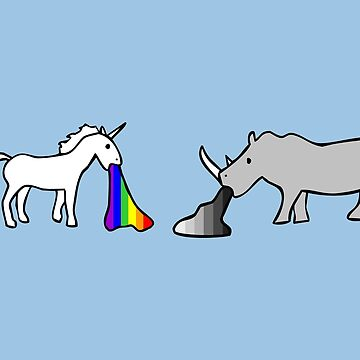 Unicorns Vomit Rainbows, Rhinos Vomit Greyscale by jezkemp
