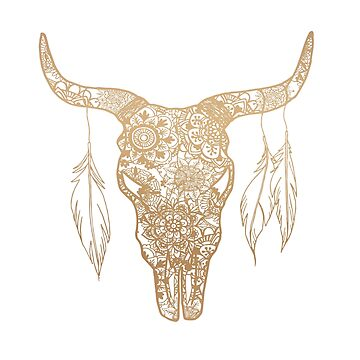 Gold Bull Skull Mandala Pattern by julieerindesign