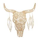 Gold Bull Skull Mandala Pattern by julieerindesign