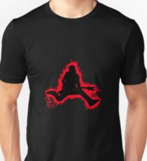Guitarist jump red and black silhouette Unisex T-Shirt