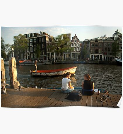 Two young women and a boatman Poster