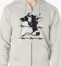 Cow. Barbed-Wire, Black and White Design. Dabbing Wire! Zipped Hoodie